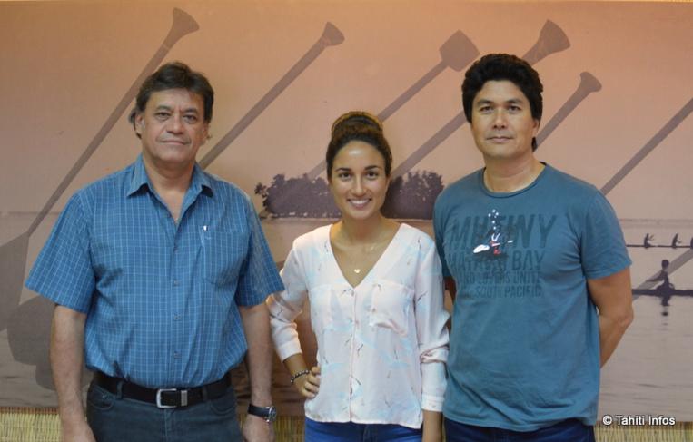 Winiki Sage (président de la FAPE – Te Ora Naho), Pauline Sillinger qui organise les workshops et Marc Collins, directeur de Blue Frontiers.