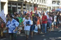 Un cortège de manifestation est prévu sur le front de mer de Papeete, mardi matin (Photo d'archives : le 15 mai 2014).