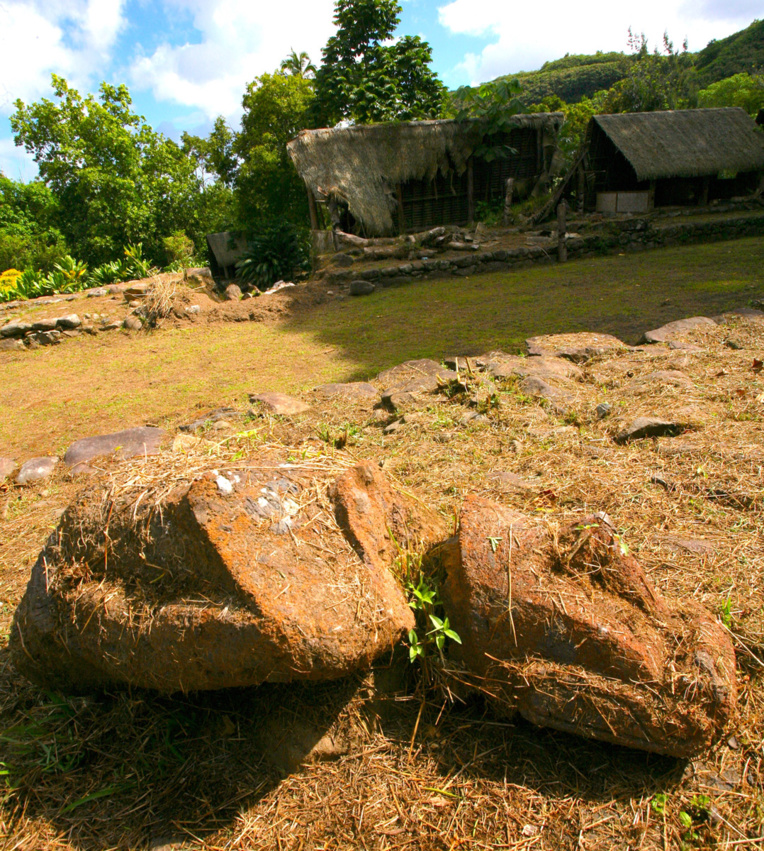 Le moai pascuan qui a été déplacé sur une plate-forme en hauteur et qui a été brisé. Il gît à terre, complètement abandonné.