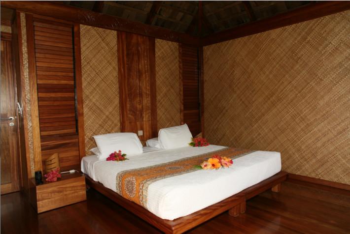 L'intérieur très cosy des bungalows : l'ambiance y est totalement reposante, un rien zen.