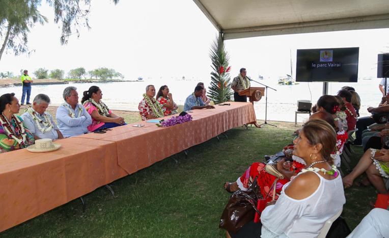 Le projet du Tahitian Village a été évoqué ce lundi matin lors de l'inauguration du parc Vairai.
