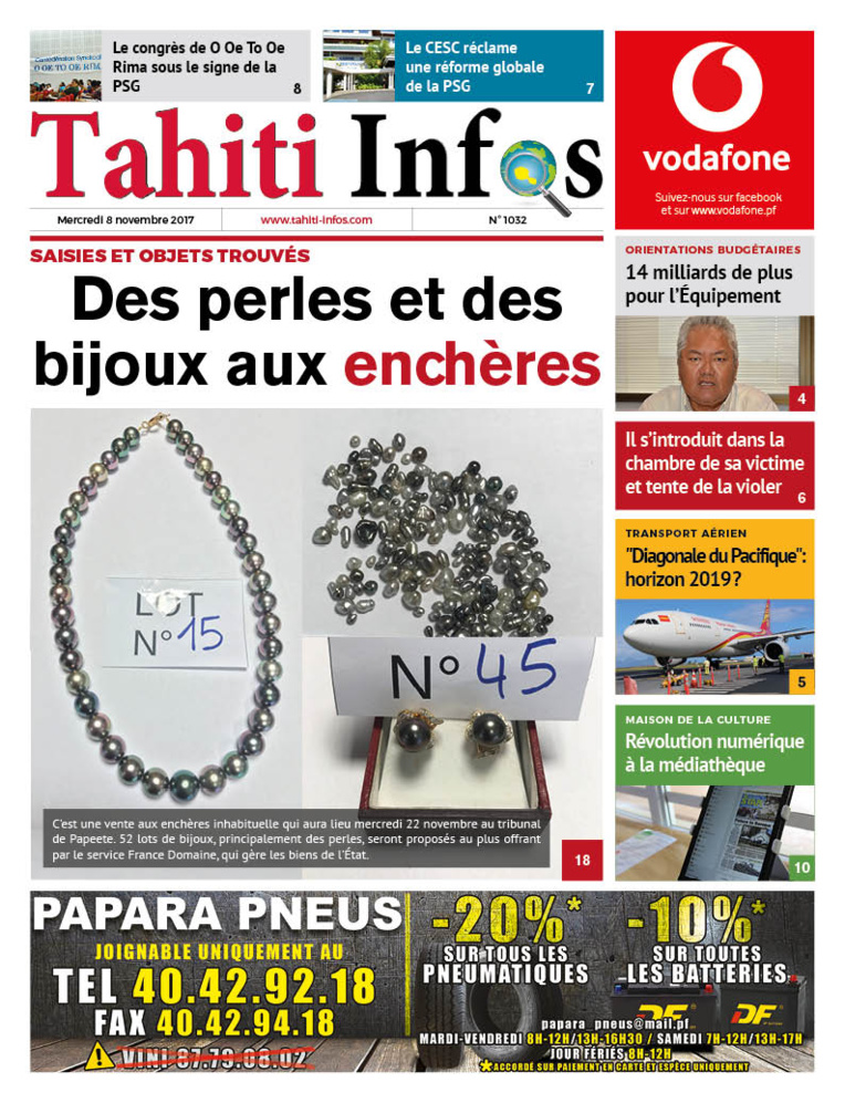 TAHITI INFOS N°1032 du 8 novembre 2017