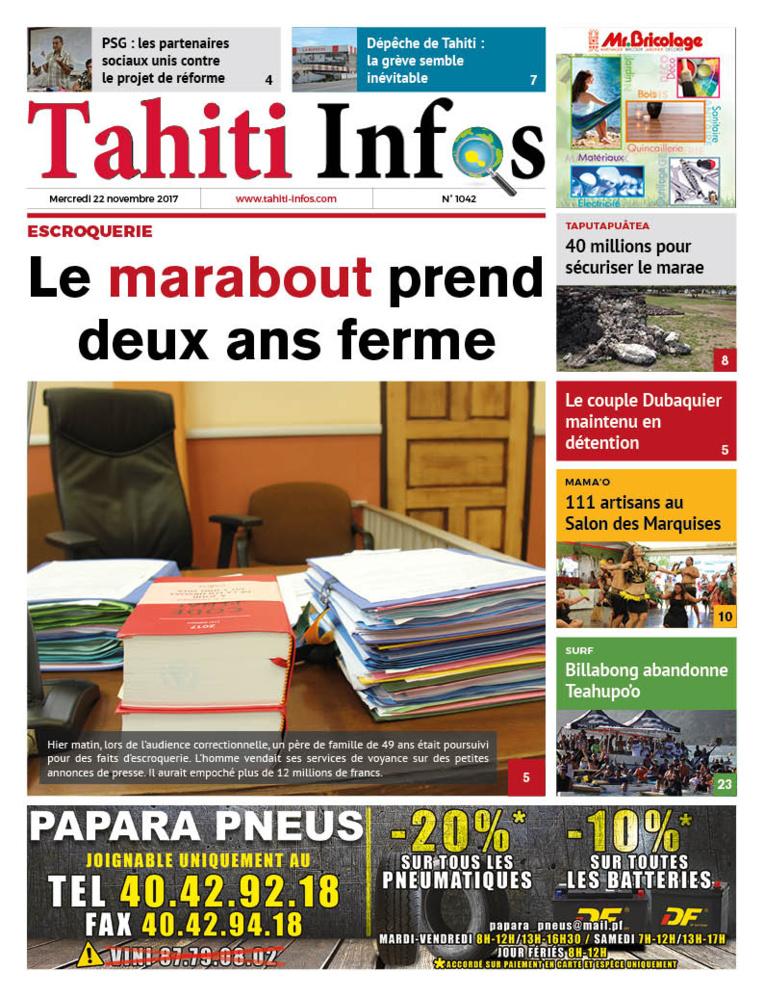 TAHITI INFOS N°1042 du 22 novembre 2017
