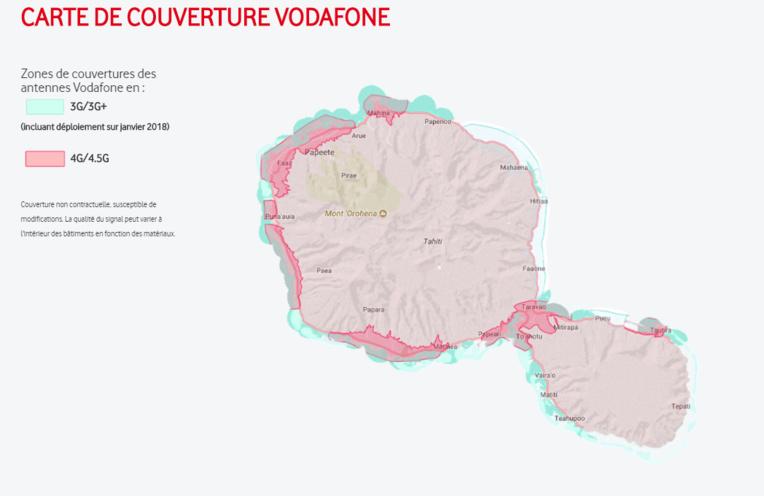Couverture du réseau 4.5G (en rose) sur l'île de Tahiti.