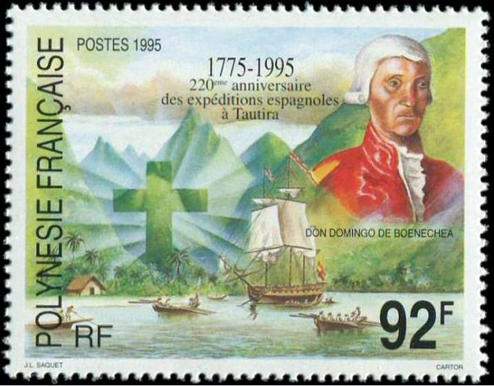 En 1995, l'Office des Postes de Polynésie fran !aise avait rendu hommage aux expéditions espagnoles à Tahiti, qui amenèrent le catholicisme dans notre îles bien avant les missionnaires protestants du « Duff » .