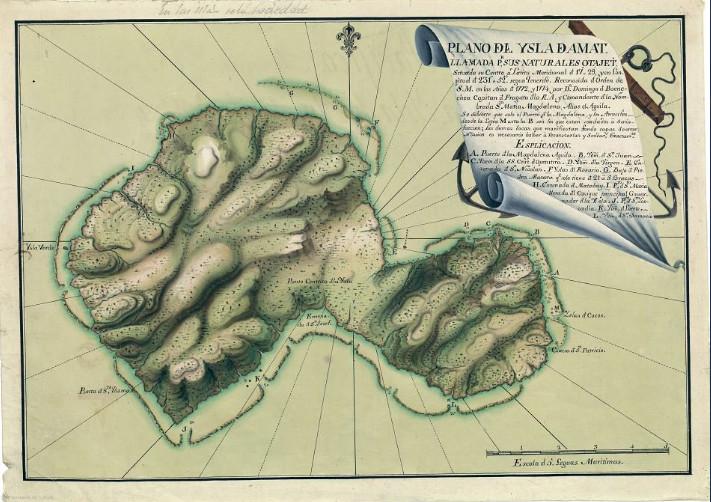 La première carte de Tahiti exécutée par l'expédition de Boenechea. C'est à cette époque que quatre Tahitiens embarquèrent pour l'Amérique du Sud ; deux seulement, devenus cathliques, rentrèrent vivants à Taiti.