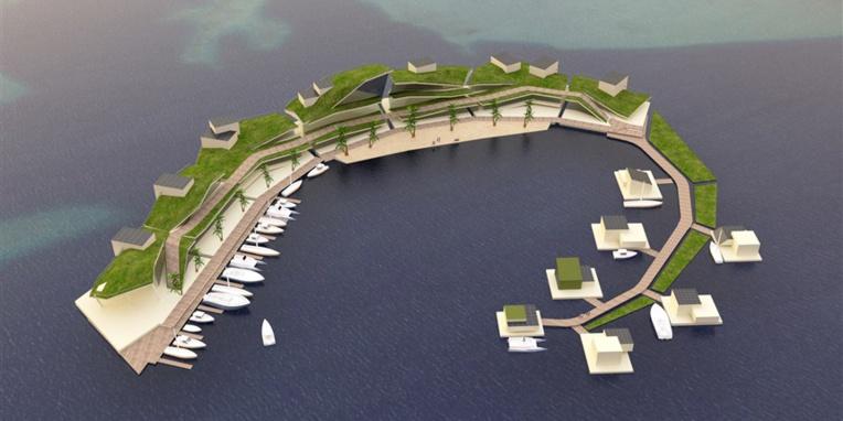 """Une île flottante à 60 millions de dollars, """"intégrée dans le paysage"""" polynésien (image : Blue Frontiers)."""