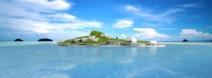 Premiers designs de l'île flottante avec ses toits végétaux.