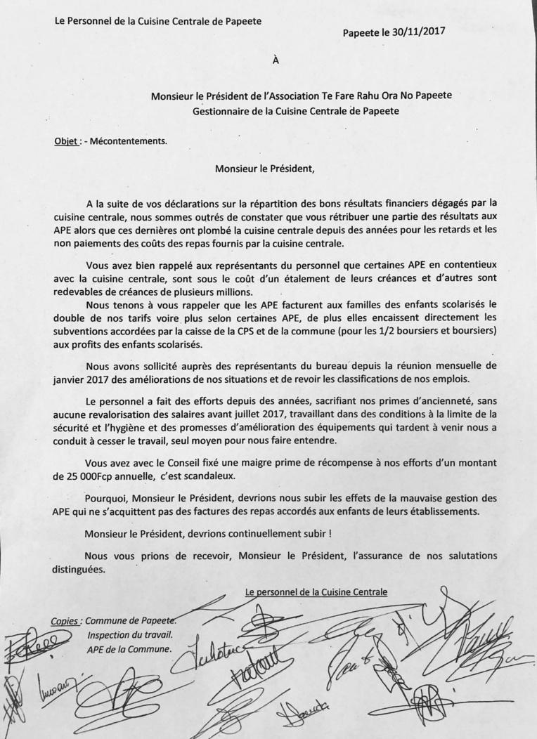 Courrier du personnel en grève au président de l'association en charge de la Cuisine centrale.