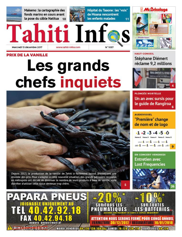 TAHITI INFOS N°1057 du 13 décembre 2017