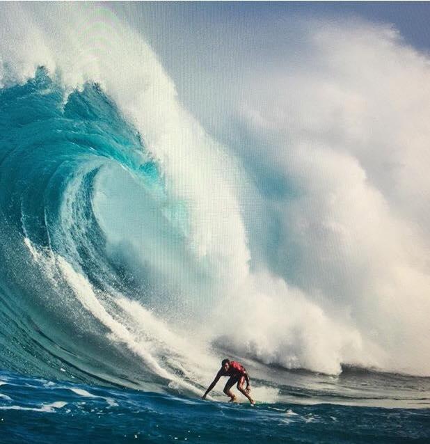 Une vague prise en début de semaine à son arrivée à Hawai'i
