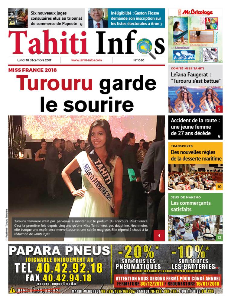 TAHITI INFOS N°1060 du 18 décembre 2017