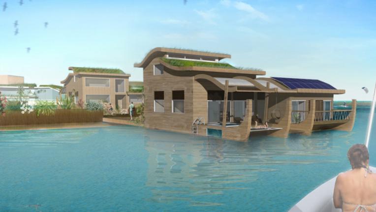 """""""Les sept plus petites plateformes des villas ont une superficie d'environ 200m2 chacune"""", indique Blue Frontiers. """"Celles-ci seront conçues en tenant compte du patrimoine culturel polynésien et seront construites dans des matériaux locaux."""""""