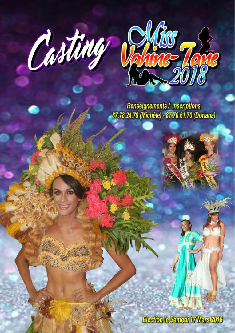 Le casting de Miss Vahine-Tane 2018 est lancé