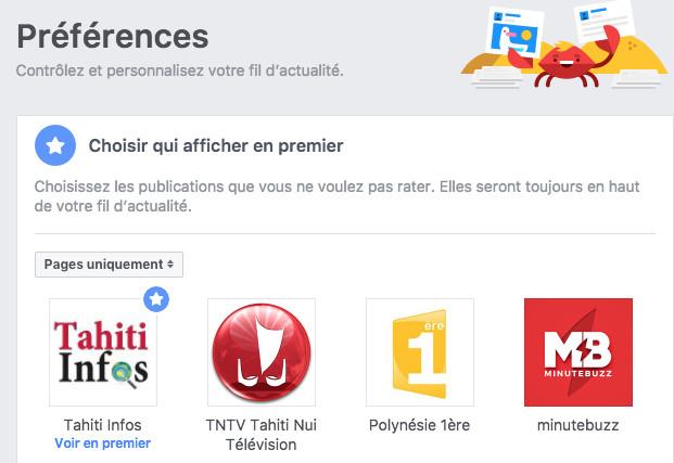 Cliquez sur Tahiti Infos ( une étoile s'affiche)