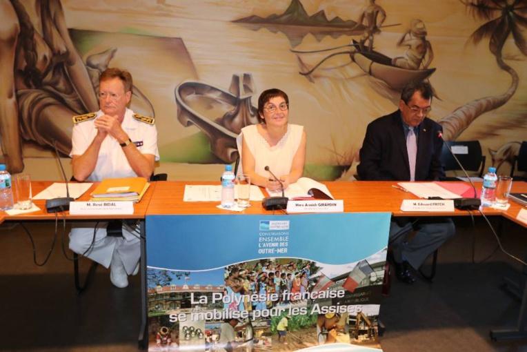 La ministre des Outre-mer, Annick Girardin, a participé mercredi, aux côtés d'Edouard Fritch, président du Pays, à un comité d'orientation élargi des assises des Outre-mer.
