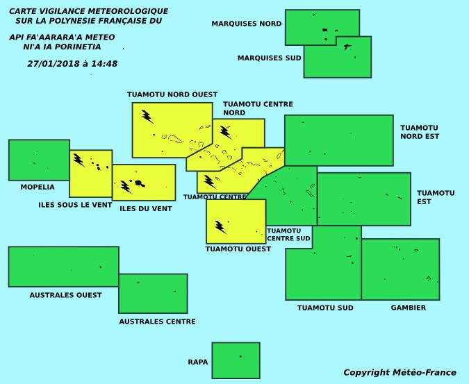 La Société et l'Ouest des Tuamotu en vigilance jaune