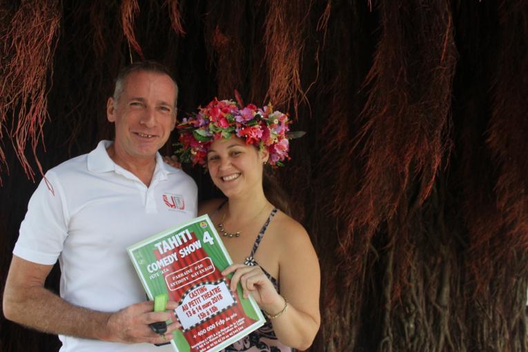 Sylvain Pauwels, le directeur de l'Union polynésienne pour la jeunesse et Hinatea Ahnne, la directrice de la Maison de la Culture