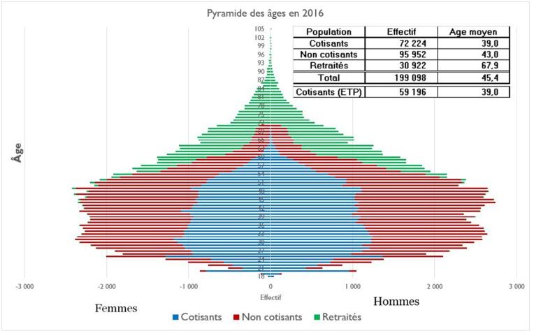 Pyramide des âges des Polynésiens ayant cotisé au moins une fois au régime de la tranche A.