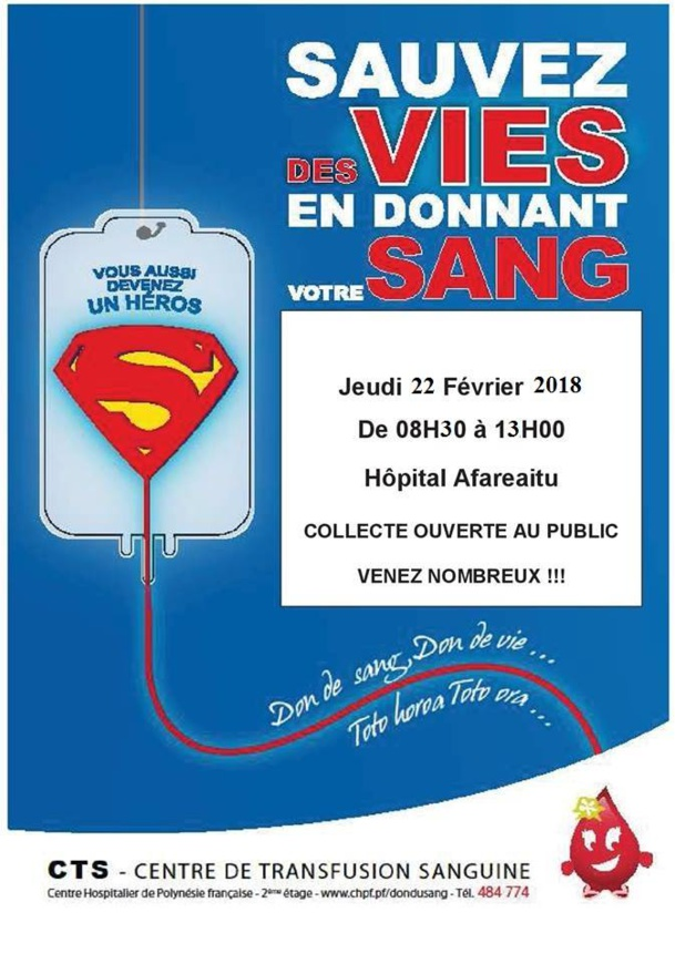 Don du sang à Hopital Afareaitu MOOREA le jeudi 22 février 2018