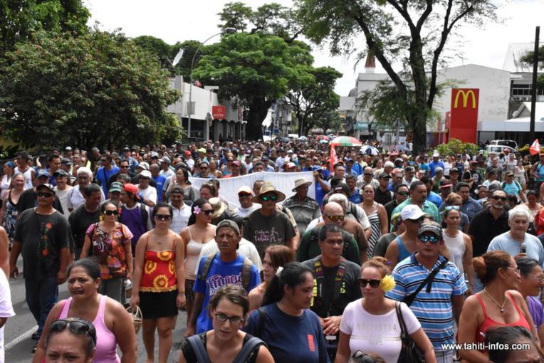 Plusieurs milliers de manifestants s'étaient mobilisés le 15 février dernier à Tarahoi pour demander le retrait du projet de loi portant sur la réforme des retraites.