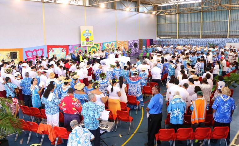 L'Eglise protestante maohi a rassemblé ses fidèles, au stade Willy Bambridge, à Papeete. Crédit photo : Président de la Polynésie française.