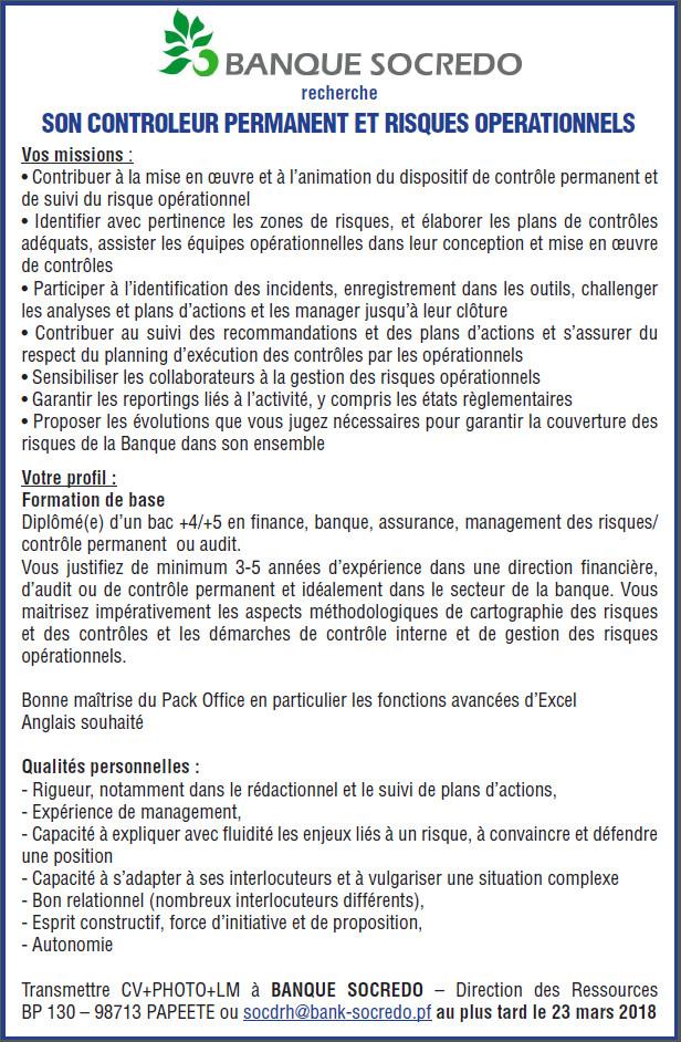Offre d'emploi - Contrôleur permanent et risques opérationnels