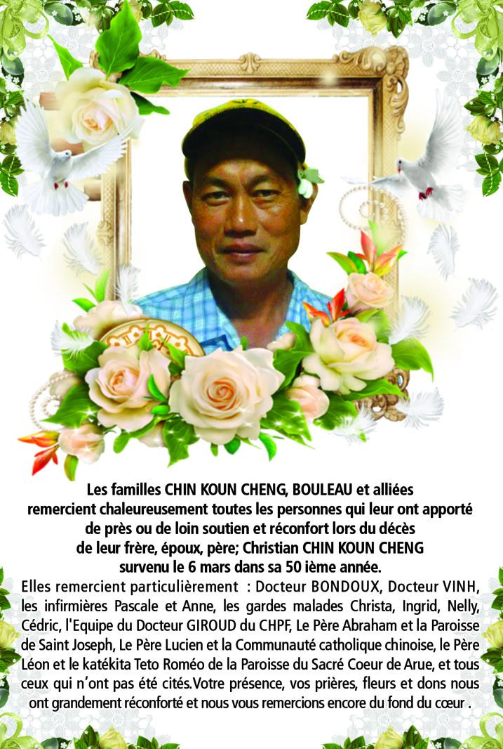 Avis de remerciements Famille CHIN KOUN CHENG