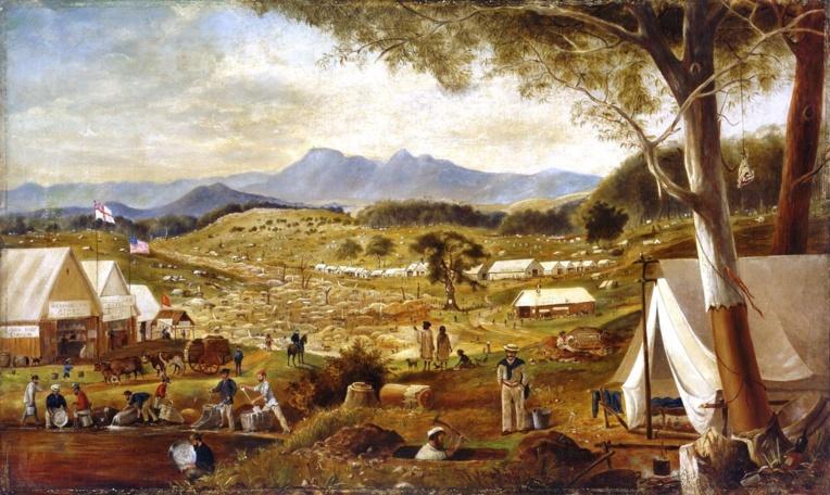 Le champ aurifère d'Ararat (Etat du Victoria) peint par Edward Roper. A noter, sur la gauche, que le drapeau australien d'alors flottait aux côtés du drapeau américain ramené par des chercheurs d'or arrivant de Californie.