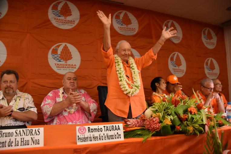 Gaston Flosse, jeudi 22 mars lors à l'ouverture du grand conseil du Tahoera'a.
