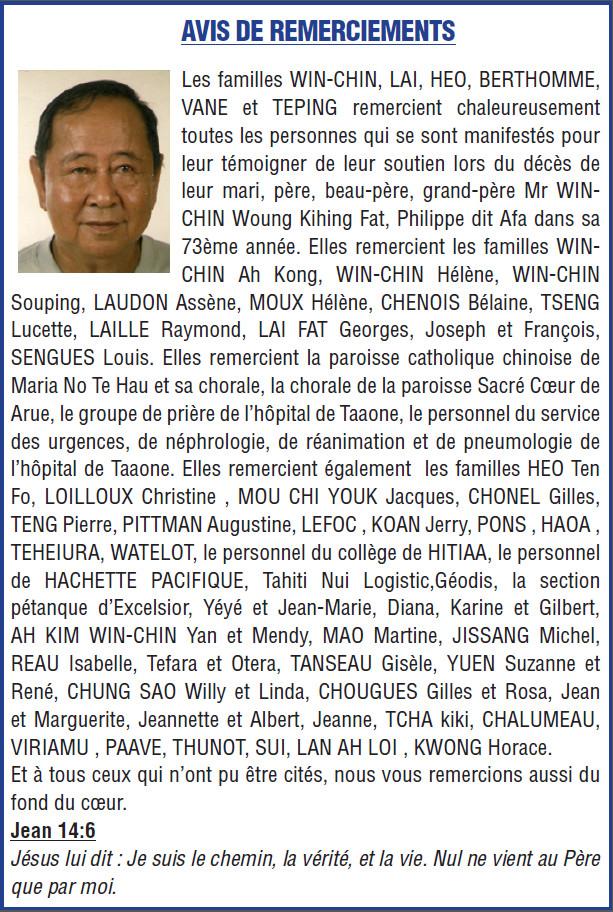 Avis de remerciements Famille WIN-CHIN