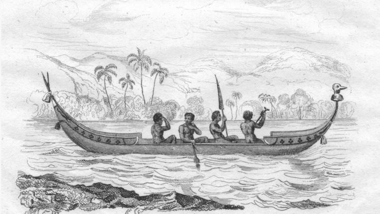 Une pirogue salomonaise à l'époque du drame ayant abouti au décès du commandant Goodenough (ces embarcations n'avaient pas de balancier).