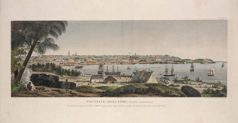 L'Australie, alors encore appelée Nouvelle-Hollande, lors de l'escale de L'Uranie en Nouvelle Galles du Sud.