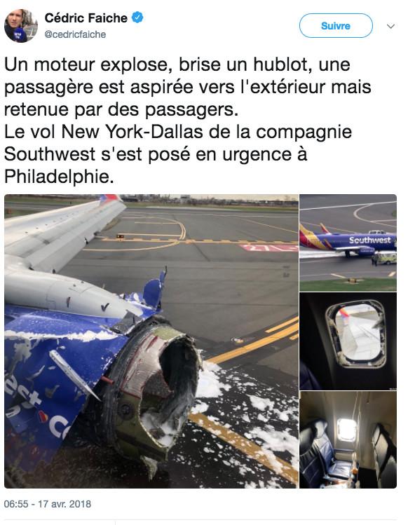 USA: un mort après une défaillance de moteur sur un vol New York-Dallas