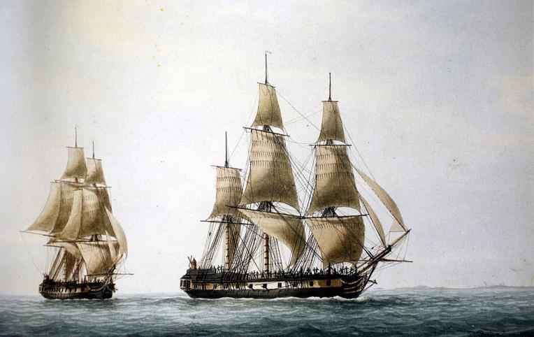 L'Espérance et La Recherche sillonnèrent, en vain, les eaux de la vaste Océanie, manquant de peu Vanikoro où avaient survécu les rescapés du double naufrage de Lapérouse.