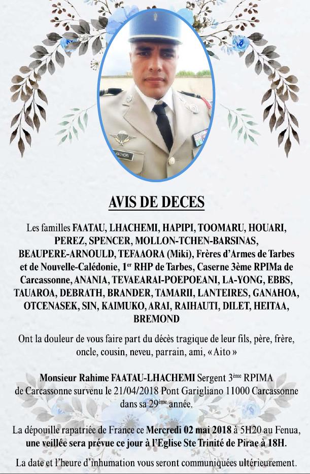 Décès de Monsieur Rahime FAATAU-LHACHEMI