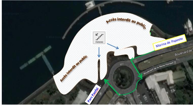 Le cheminement piétonnier reliant le parc Paofai à la marina de Papeete est modifié durant les 48 semaines du chantier. Seuls les accès piétons au parking seront ouverts.