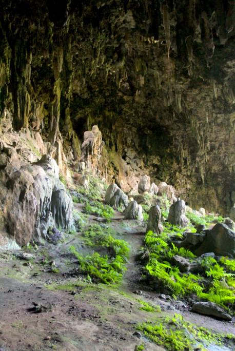 Le sol de la caverne est toujours en cours de formation, puisque des gouttes d'eau chargées en carbonate de calcium continuent de tomber sur les stalagmites qui grandissent ainsi de quelques millimètres par an.