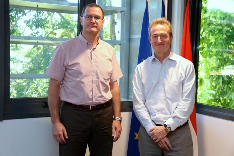 Marc Tschiggfrey en compagnie de Stéphane Le Ray, le nouveau secrétaire général du Vice-rectorat.