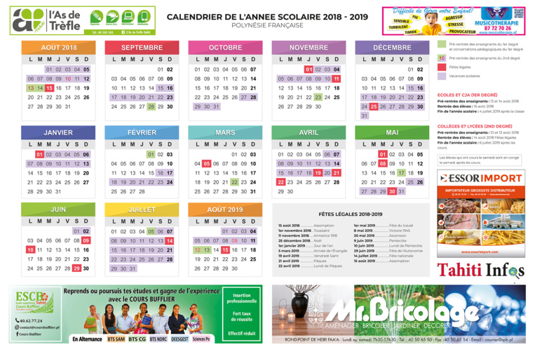 Calendrier Annee Scolaire 201918.Calendrier 2018 19 A Telechar Cosmeticdirectory