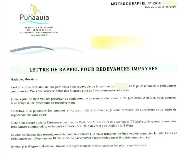 Punaauia - Redevances impayées: confusion après l'envoi des courriers