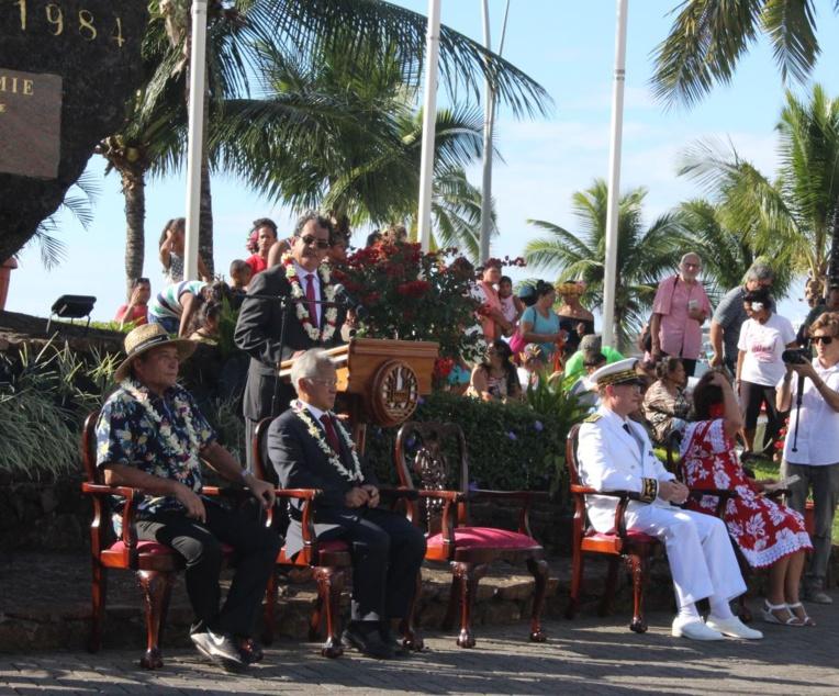 Le Président de la Polynésie française, Edouard Fritch, lors de son discours.