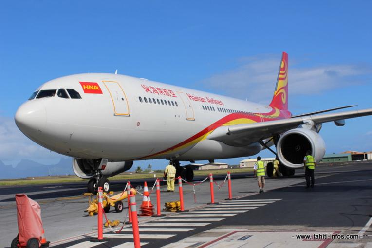 L'avion d'Hainan Airlines en octobre dernier à l'aéroport de Tahiti-Faa'a