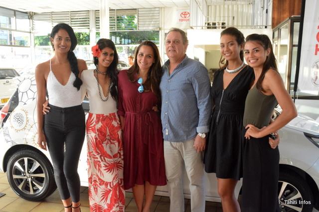 Miss Tahiti 2018 et ses dauphines ont rempli la concession Nippon AutoMoto de leur charme.