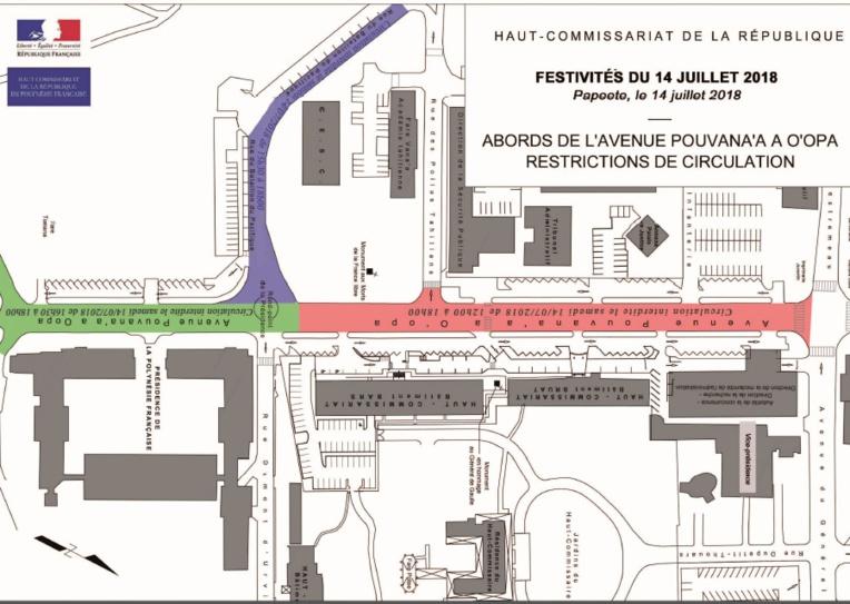 Papeete : la circulation sera perturbée le 14 juillet