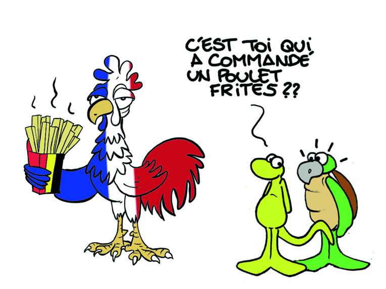 """ Foot : France-Belgique "" vu par Munoz"