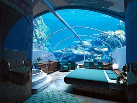 Des chambres vitrées à 40 pieds sous l'eau cristalline des Fidji. Franchement impressionnant !