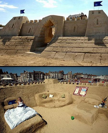 Il a fallu 1000 tonnes de sable et une équipe de 4 sculpteurs travaillant 14 heures par jour pendant une semaine pour construire cet hôtel