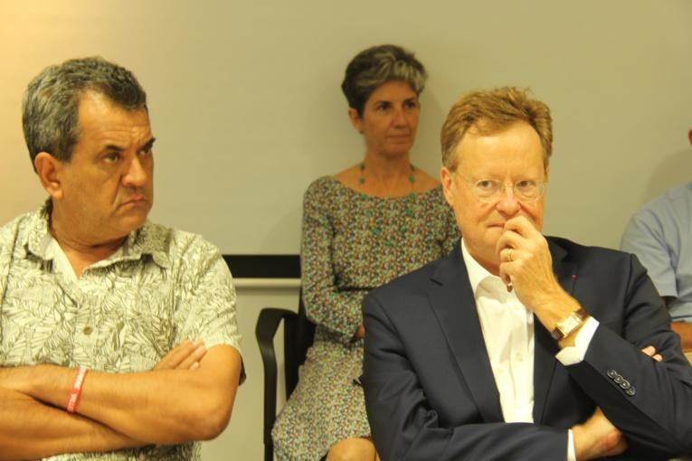 Le Président de la Polynésie française, Edouard Fritch en compagnie du Haut-commissaire René Bidal.