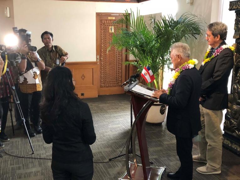 Gaston Tong Sang a tenu une courte allocution devant les médias locaux avant de rejoindre les autres délégations du Pacifique, dans le centre-ville.